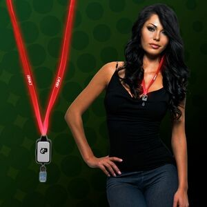Red Light Up LED Lanyard with Badge Clip